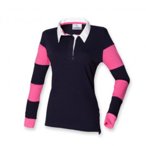 FR103mg - Women's striped sleeve rugby shirt